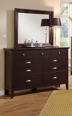 Twilight Merlot Large Dresser & Mirror  $799.99 Sku:117456 Dimensions:56Wx18Dx80H The Twilight collection has a simplistic look that makes it easily placed into a traditional or a contemporary setting. This collection has a shaker styling throughout, with completing contemporary features making the Twilight the perfect blend of a classic shaker style and modern living. Please visit our website for warranty and benefits.