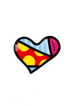 RED/YLW LARGE DOT HEART teabag holder $7.50