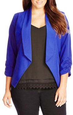 20ba95bca7a9c Plus Size Fold Front Blazer Blazer Online