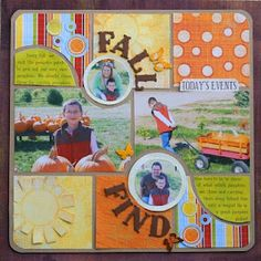 """Colorful """"Fall Find"""" Scrapping Page...with paper square scraps.  Pam Callaghan: Ideas For Scrapbookers."""
