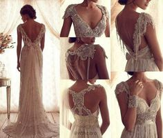 This wedding dress is the idea of the dress I want. Elegant with lace and a open back. I used to want a ball gown, but I can simple beauty in this type of dress.