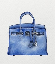 Blue Hermes Birkin Bag Original Acrylic Painting by TheArtyOlive