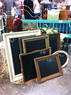 Old frames with a blackboard inside of them. Great for organisation :)
