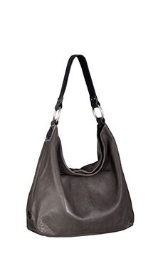 Sadie Glazed Italian leather Hobo Bag: Gunmetal