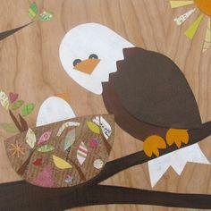 Eagle wood plaque collage