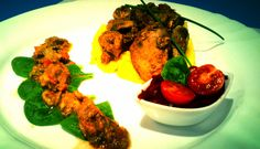 Chicken Livers with Vegetables Served on a Puree