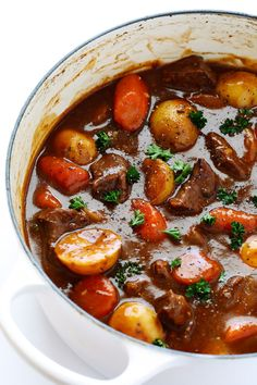 A hearty and incredibly delicious recipe for Guinness Beef Stew -- made on the stove or in a slow cooker.