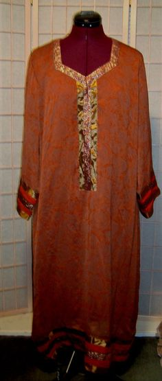 H & H Collectibles Sz XL Burnt Orange & Gold Shimmer Silk Dress Lined #HHCollectibles #Sheath