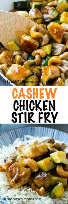 This cashew chicken stir fry is full of sauteed chicken, veggies and crunchy cashews, all coated in a simple savory sauce. No need to order take out when you can make your own at home!