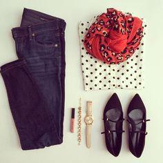 Polka dots, leopard scarf, cute flats |  Instagram @ mrsstrock