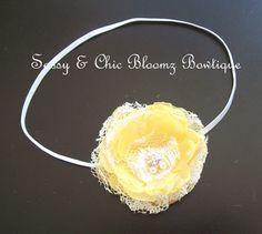 Yellow Organza & Lace Flower Headband,Flower Hair Accessory,Handmade Flower Headband on Etsy, $9.38