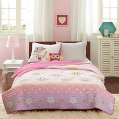 Dancing Pink Owl Bedding Twin Full/Queen Quilt Set Bedspread & Plush Pillow