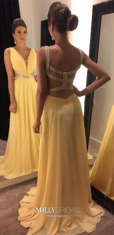 Yellow Prom Dresses Long, A Line Prom Dresses V Neck, Open Back Prom Dresses Chiffon, Sequin Prom Dresses Sexy