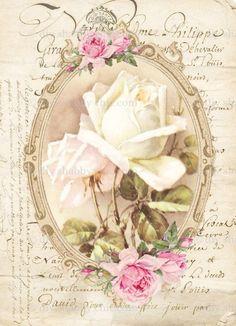 Decoupage Vintage, Vintage Diy, Images Vintage, Vintage Shabby Chic, Vintage Cards, Vintage Paper, Vintage Flowers, French Images, Shabby Chic Furniture