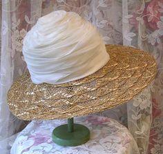 1950s 50s SCHIAPARELLI Wide Brim Straw Hat by VintageClothingandCo, $119.99
