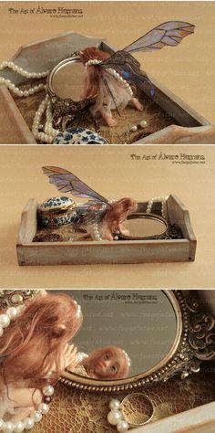 Vain mirror fairy  Mandmade Ooak dressing table by FuegoFatuo $555.00