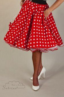 SETRINO Polka Dot Skirt in red whiteThis pretty SETRINOFifties styled Polka Dot Skirt is lovely to wear - a classic 50's Skirt in red withwhite Polka Dots.The skirt length in Size XS - S is 55 cmor 22 inchesand60 cm or 24 inches.The skirt length in Size M - L is 60 cm or 24 inches.Awhite SETRINO petticoat withred satin trim looks drop dead gorgeous underneath thisbeautiful to no end circle skirt! Thi...