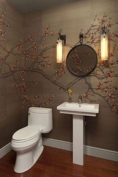 Interesting Powder Room - wallpaper is really neat