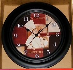 gourmet bistro wall clock   Details about French FAT CHEF Gourmet Paris Bistro Kitchen Decor Wall ...