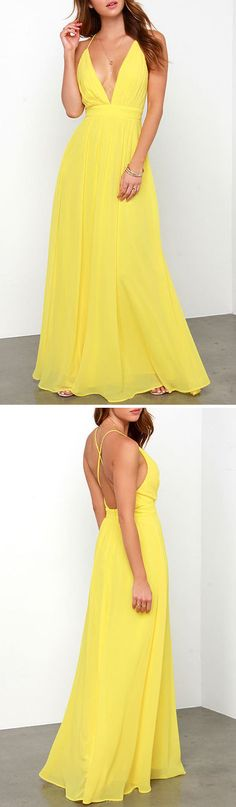 This Maxi Dress is made of nothing but happiness! Bright yellow chiffon shapes a pleated, low V neckline with adjustable spaghetti straps that banded waist, completing the elegant silhouette. Hidden back zipper and clasp.Free Shipping Worldwide!