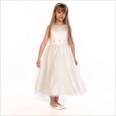 Flossie Ivory Organza Flower Girl Dress with Beaded Waist from Demigella