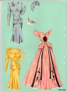 """Paper Doll Model """"H"""" (3 of 10) / Gerda Vinding, Danish artist, 1921-1987"""