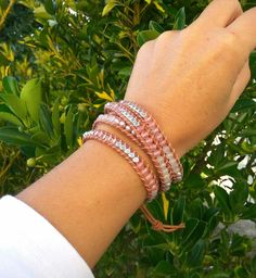 Pink Pearl Rose Jade Silver Zinc Boho Wrap Bracelet for Women   Etsy