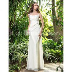 [USD $ 89.69] A-line Square Floor-length Chiffon Wedding Dress (710738)