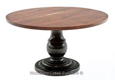 Round Walnut Dining Table with Pedestal Base