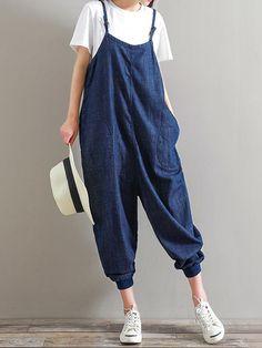 Casual Women Straps Pocket Loose Romper Trousers Jumpsuit
