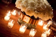 #2 Table decor for reception - low hydrangea arrangement (in lieu of roses shown or mixed with roses)