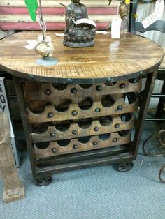 Rolling wine rack bar table.