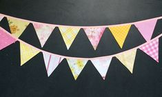 Pink and Yellow Bunting Banner - Party Bunting - Pennant Banner - Flag Garland - Vintage Fabric