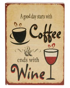 'Coffee Wine' Sign Wall Décor