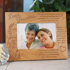 """Your Memory is A Keepsake Personalized Memorial Wood Picture Frames. Our Personalized Sympathy Picture Frame makes a beautiful Memorial Keepsake to honor your deceased family member or close friend. Our Personalized Your Memory is a Keepsake Memorial Picture Frame measures 8¾"""" x 6¾"""" and holds a 3½"""" x 5"""" or 4"""" x 6"""" photo. Easel back allows for desk display. Includes FREE Personalization! Personalize your Your Memory is a"""