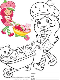 strawberry shortcake coloring pages | Free Strawberry Shortcake Coloring Pages: Strawberry Shortcake Pushing ...