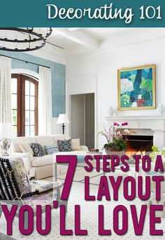 Easy steps to laying out your furniture like a designer would! My living room has 2 huge doorways, a pass thru, a radiator and one window. My furniture placement is so disconnected now. Living Room Colors, My Living Room, Home And Living, Living Room Designs, Living Room Decor, Living Spaces, Modern Living, Tiny Living, Kitchen Living