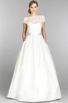 tara keely fall 2013 short cap sleeve ball gown wedding dress style 2357 lace illusion bateau neck v back full sweep train