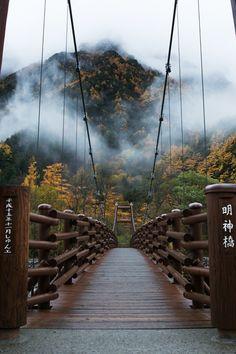 Myojin bridge, Kamikochi, Matsumoto, Japan