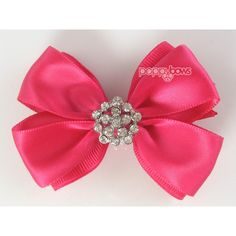 Special Occasion Hair Bow Bright Pink Hair Bow 2.5 2-3 Inch Hair Bow... ($8.95) ❤ liked on Polyvore featuring accessories, hair accessories, barrettes & clips, grey, hair bow, bow hair clips, bow hair accessories, rhinestone hair clips and alligator hair clips