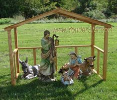 Outdoor Nativity Set with Wooden Manger - Yonder Star Christmas Shop LLC