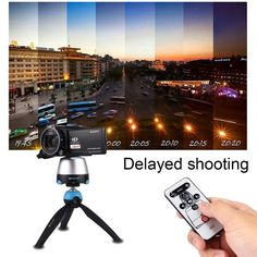 360 Panoramic Tripod Head dslr Tripod Mount GoPro Clamp Phone Clamp with Remote Controller for Smartphones, GoPro, DSLR Cameras