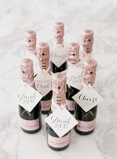 Moet mini bottles of champagne, wedding champagne drink tags, Rosemary Beach Wedding, wedding favors. M Elizabeth Event Planning.