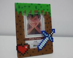 Grass Block with health heart and sword perler beads picture frame art