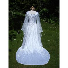 White and Lilac Celtic Goddess Medieval Renaissance Handfasting... ($406) ❤ liked on Polyvore featuring dresses, gowns, party dresses, party gowns, summer dresses, evening ball gowns and white summer dress