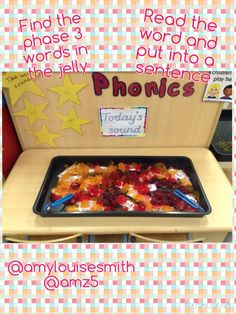 Phonics- phase 3 words- find using the tweezers, read and put into a sentence Sensory Activities, Sensory Play, Writing Activities, Phase 3 Phonics, Reception Class, Early Literacy, Eyfs, Spelling, Sentences
