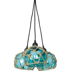 Ceiling light fitting with a trio of blue clear glass shades, with jute robe detailing, designed to look like nautical buoys. Complete with ceiling fittings and rose. Requires a standard screw fitting bulb (not supplied) Diameter: 15 cm x Height: 135 cm Drum Pendant, Globe Pendant, Lantern Pendant, Pendant Lighting, Ceiling Light Fittings, Ceiling Lights, Ole West, Island Pendants, Globe Lights