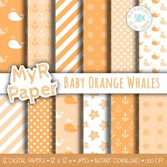 "Digital Paper Pack: ""Baby Orange Whales "" #patterns and backgrounds with anchor, rudder, ship'swheel, whales, starfish. Digital Scrapbooking  50% OFF ON ORDERS OVER 12 $ (OR... #design #graphic #digitalpaper #scrapbooking"
