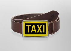 Belt Taxi | Wechselwild Belt with interchangeable designs #belt #buckle #guertel #guertelschnalle #lederguertel #leder #leatherbelt #leather #taxi #sign #yellow #black #trehn