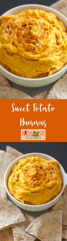 The sweet potato hummus has an attractive deep orange color which makes it a nice addition to a full course meal that goes well with Mediterranean food and festive dishes. The color is also appealing to kids and makes the perfect dip or spread. And to top it off, this healthy dip is loaded with beta-carotene, fiber, vitamins A and C. Kids will love dipping veggies and fruit into this delightful dish.